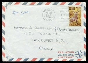 1973 Paris, France to Vancouver, BC Canada - Deer Stamp - Crisp Slogan Cancel