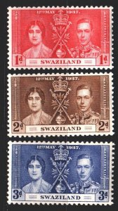 Swaziland. 1937. 24-26. English royal dynasty. MLH.