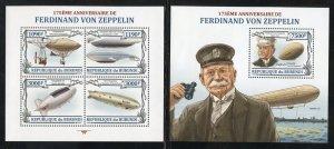 Burundi 1358, a, b, c, d, 1378 MNH Ferdinand Von Zeppelin SS Set from 2013