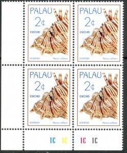 PALAU 1995 2c LIONFISH Plate Block Sc 352 MNH