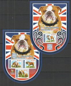 ST2245 2015 MOZAMBIQUE FAUNA DOGS BULLDOG EXPOSITION PHILATELIC LONDON KB+BL MNH