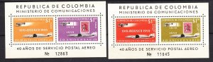 J28590, 2 1959-60 colombia s/s mnh  #c349-50 airplanes