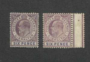 1908-1912 Gibraltar King Edward VII 6 Pence Postage Stamp #56a-56b