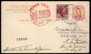 Spain Germany 1930 Graf Zeppelin Rio Brazil NJ Mixed Frank Si58Ad Cover 97068