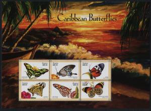 Guyana 3381 MNH Caribbean Butterflies, Flowers