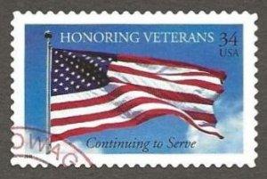 US#3508 2001 34c Honoring U.S. Veterans, XF/Superb Used * #S14