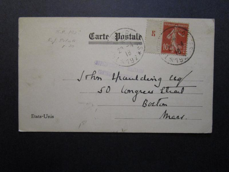 France 1916 La Fayette Fund Post Card to USA - Z7069