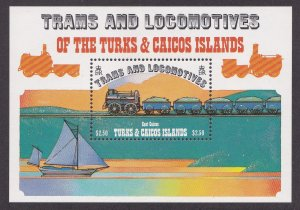 Turks & Caicos Islands # 554, Steam Engine, Souvenir Sheet,  NH, 1/2 Cat.