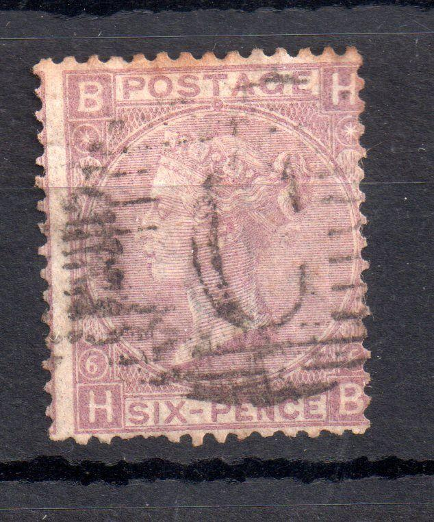 GB QV 6d mauve Plate 6 fine used abroad Constantinople WS11144