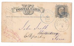 1877 IA McGregor Forward to Guttenburg Iowa Dual Cancels on UX5 Postal Card