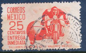 MEXICO E12, 25cts Motorcycle, Special Delivery. Used. (951)