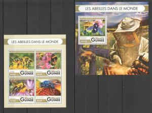 Guinea 2016 bees insects  klb+s/s MNH