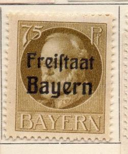 Bavaria 1919 Early Issue Fine Mint Hinged 75pf. Optd 109436