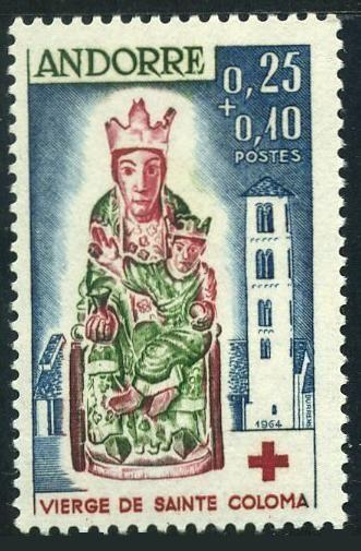 Andorra Fr B1,MNH.Michel 190. Red Cross 1964.Virgin of St Colona.