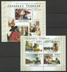 BC1122 2010 MOZAMBIQUE PAINTINGS JOHANNES VERMEER ART BL+KB MNH