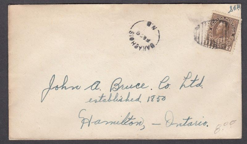NEW BRUNSWICK SPLIT RING TOWN CANCEL COVER BARACHOIS
