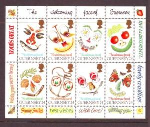 Guernsey Sc 550a 1995 Greetings Food stamp sheet mint NH