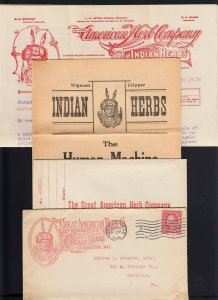 Washington, DC 1916 GREAT AMERICAN (INDIAN) HERB Co. w/Circulars