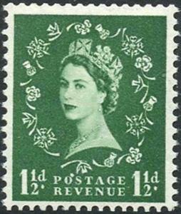 M25m 1 1/2d Green Wmk Tudor (sideways) Variety Flaw over O of Postage U/M