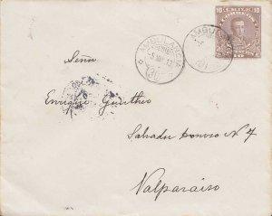 Chile 10c Cabrera Envelope 1913 Ambulancia 30, Chile to Valparaiso.  EUROPEAN...
