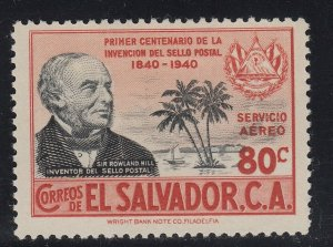 El Salvador 1940 80c Orange Red & Black Rowland Hill VLM Mint. Scott C70