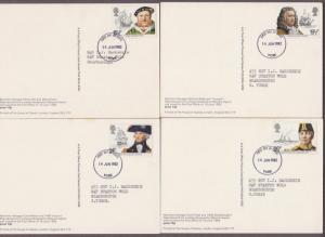 UK # 991 - 995 , Maritime Heritage on 5 Maxi Cards - I Combine S/H