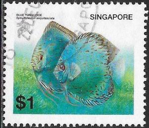 Singapore 1018 Used - Tropical Fish - Blue Turquoise
