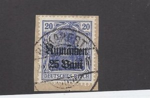 Romania, 3N6, German Occupation Stamps On Piece Single, **Used** (Z1)