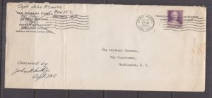 CANAL ZONE, 1943 Censored cover, Balboa Heights, 3c. to War Dept. Washington.
