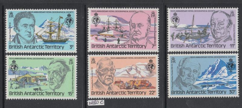 XG-AK489 BRITISH ANTARCTIC TERRITORY - Ships, 1980 Royal Geogr. Society MNH Set