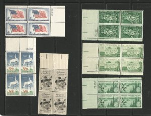 USA Stamps #1094,1098,1099,1100,1106,1108 Plate Blocks of 4