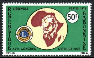 Gabon 349, MNH. Lions Club Congress. Map of Africa, Lion's Head, Emblem, 1975