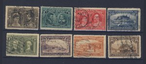 8x Canada 1908 Quebec Stamps #96-1/2c to #103-20c Guide Value = $410.00