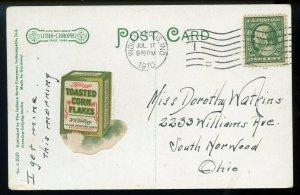 One Cent Washington Perf. 12 on 1910 Indianapolis Post Card w/Kellogg's Ad