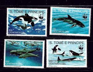 St Thomas and Prince Is 1051-54 MNH 1992 Whales (W.W.F.)
