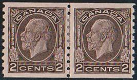 CANADA - USC #206i Mint 1933 2c Brown Coil Line Pair - VF-H