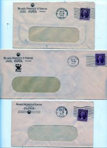 U.S. Scott 720 On 3 Blake, Moffit & Towne Paper Covers (NRA, Pre and Post NRA)