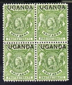 Uganda 1902 Crown CA overprint on QV 1/2d yellow-green bl...