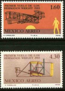 MEXICO C590-C591, 75th Anniv 1st powered flight by Wright. MINT, NH. F-VF.