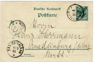 German East Africa 1900 Kilossa cancel on postal card to Germany