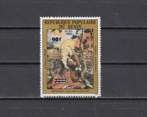 Benin, Scott cat. C325. 1982 Religious Christmas, SURCHARGED issue. ^