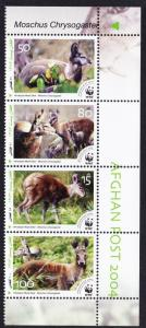 Afghanistan WWF Himalayan Musk Deer Strip with Latin Name