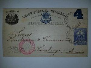 J) 1897 PERU, POSTAL STATIONARY, UPU, NUMERAL 4 CENTS, FRANQUEO, SUN, CIRCULATED