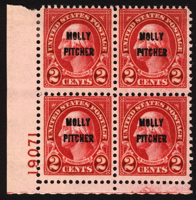 #646 2c Carmine 1928 Molly Pitcher Plate# Blk of 4 MLH Rare Stamp Block