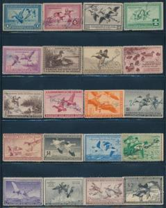 #RW1 // #RW45 (39) DIFF. USED DUCK STAMPS SOME WITH FAULTS CV $1,166 BQ8203