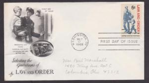 1343 Law and Order ArtCraft FDC addressed in pencil