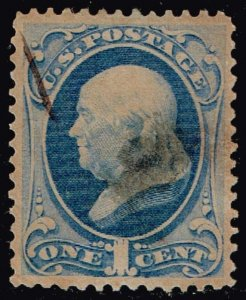 US STAMP #182 1879 1¢ Franklin American Bank Note USED STAMP
