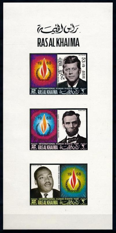 [67954] Ras Al Khaima 1970 Presidents Kennedy Lincoln Luther King OVP Sheet MNH