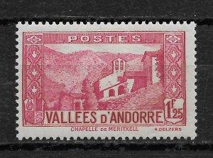 French Andorra 1933, Scott # 52, 1.25fr ,VF MLH*OG (FR-1)
