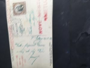 Chile to Czechoslovakia 1926 Postcard With CalbucoVolcano Red HS Nove Mestoetc